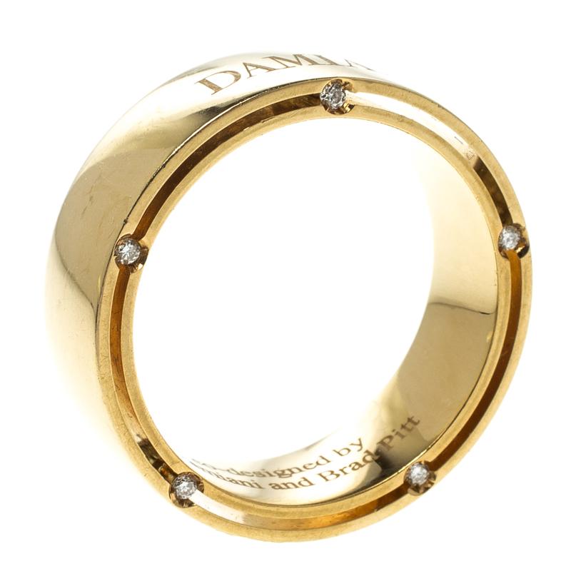 Damiani co-designed by Brad Pitt Diamond 18k Yellow Gold Band Ring Size 61