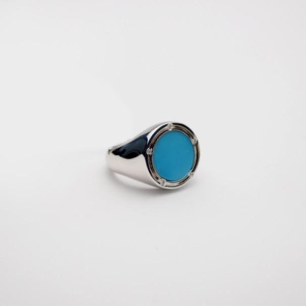 Damiani Round Turquoise Ring Size 55