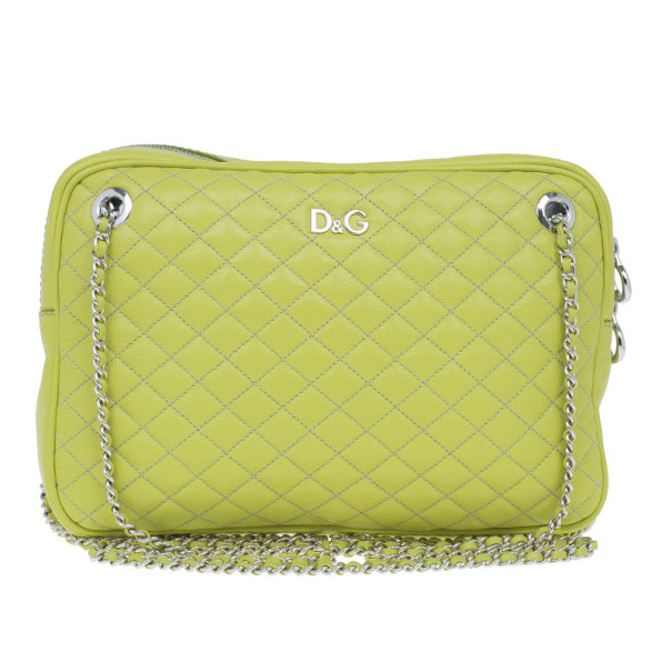 Buy D G Green Leather Quilted Lily Glam Zip Top Shoulder Bag 8949 at best  price  db782fe8188f3