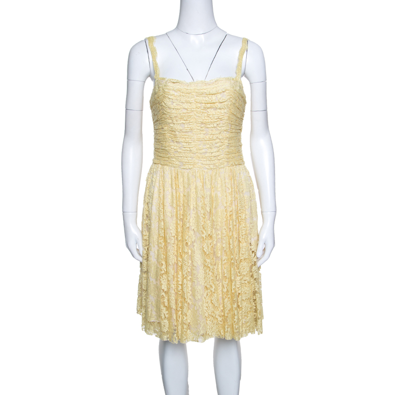 cccdae9c751f ... D G Yellow Floral Lace Ruched Sleeveless Dress M. nextprev. prevnext