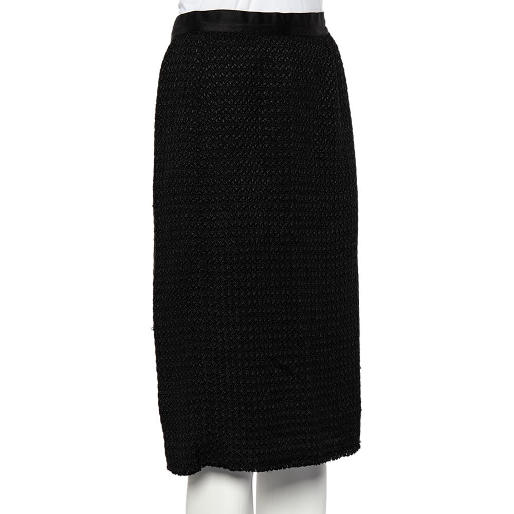 D&G Black Textured Wool Blend Pencil Skirt L