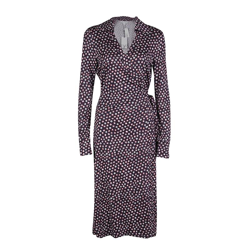 fdb78ce3b7 ... Diane Von Furstenberg Navy Blue Pirouette Dot Print Silk Jersey Cybil Wrap  Dress L. nextprev. prevnext