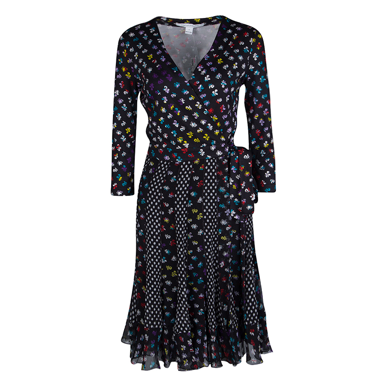 Diane Von Furstenberg Floral and Dot Print Paneled Caprice Wrap Dress S