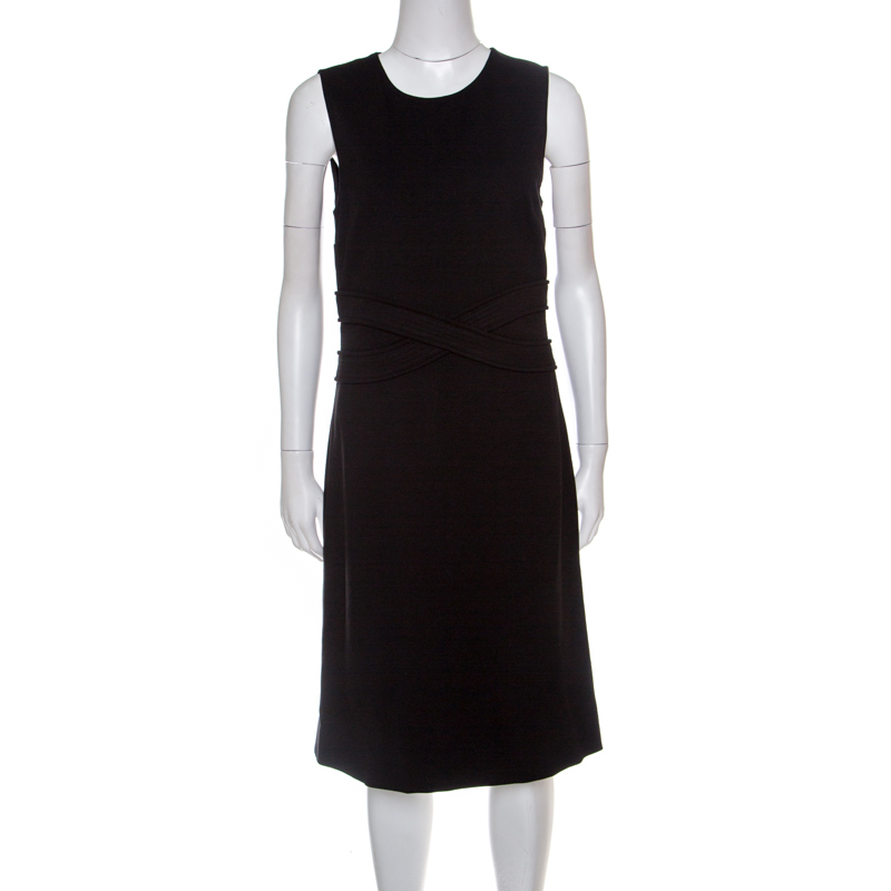 Купить со скидкой Diane Von Furstenberg Black Jersey Evita Sleeveless Shift Dress M