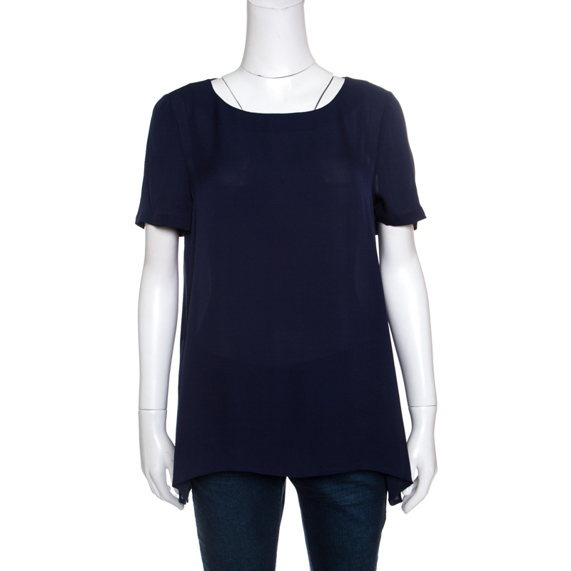 908763ddb75f11 Buy Diane Von Furstenberg Navy Blue Silk Short Sleeve Maggy Top M ...