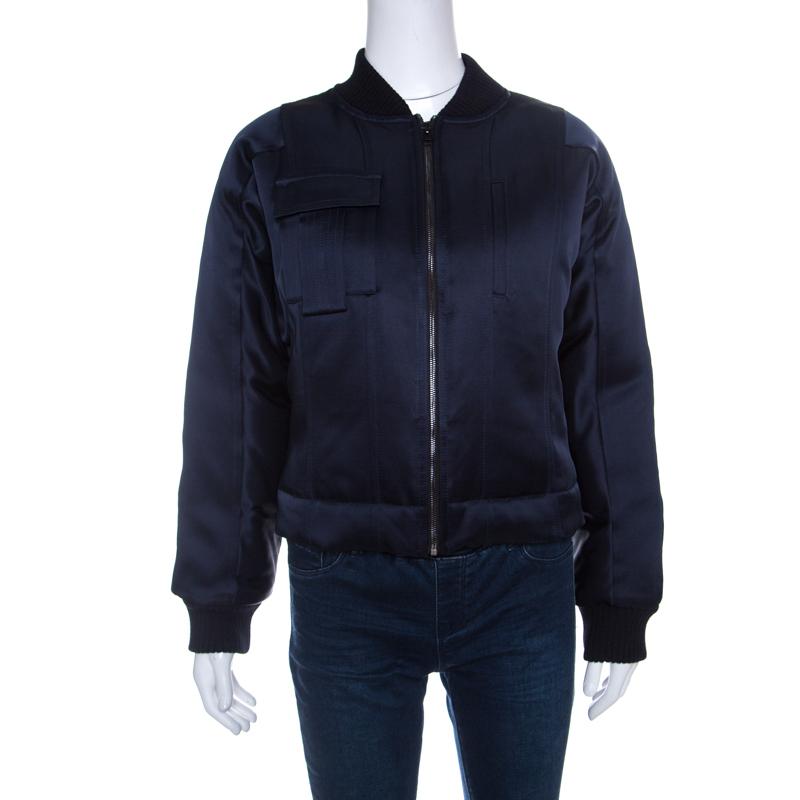 unique style various design new release Diane Von Furstenberg Navy Blue Satin Alexander Bomber Jacket S