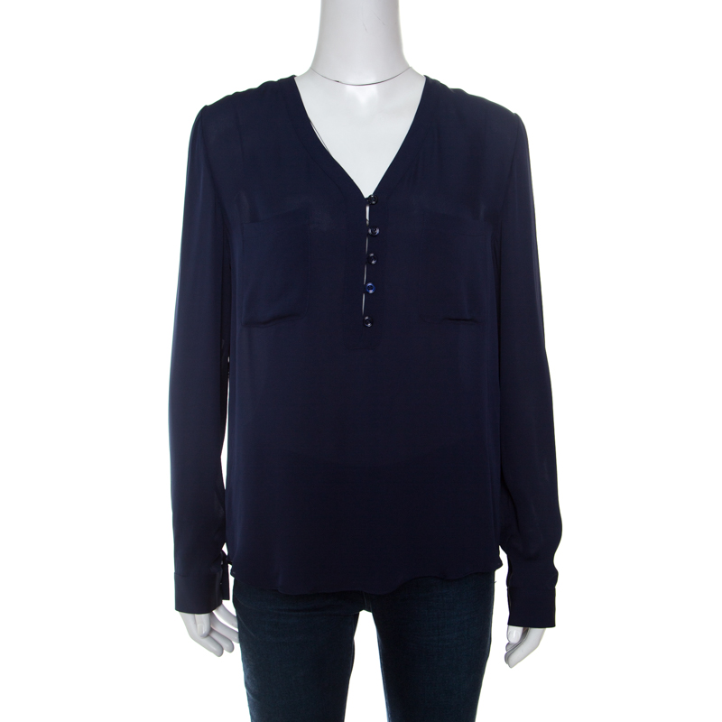 4e552d9776f587 Buy Diane Von Furstenberg Navy Blue Silk Long Sleeve High Low Arden ...