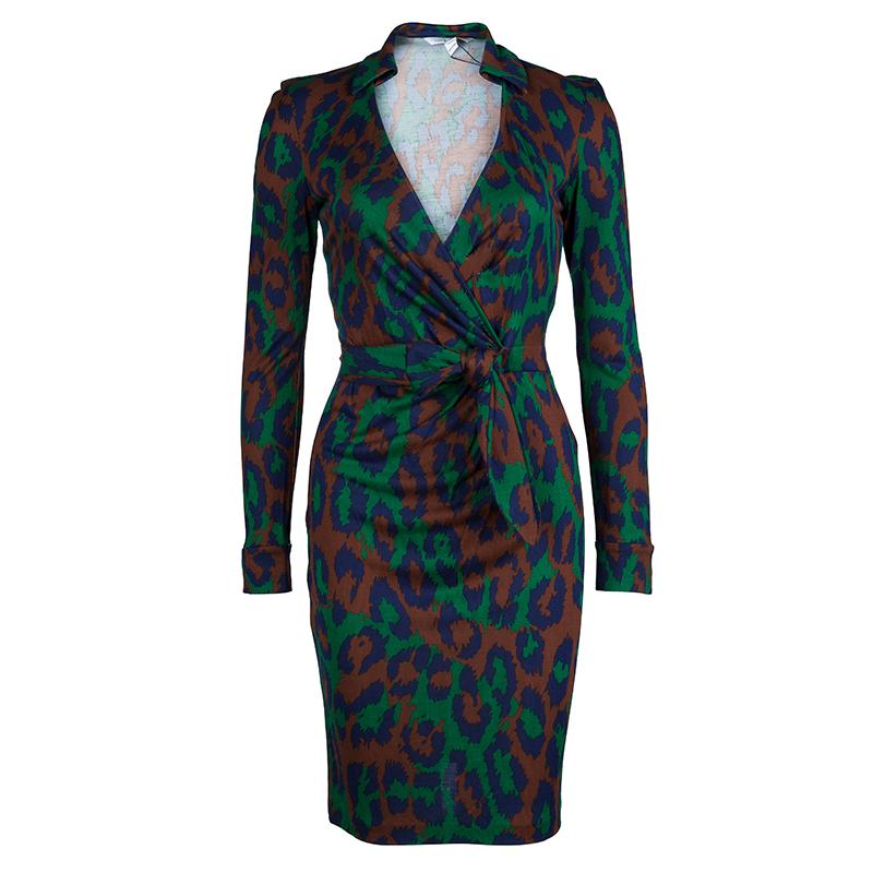 Diane von Furstenberg Multicolor Animal Print Savannah Wrap Dress XS