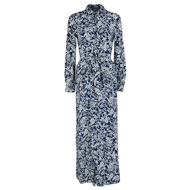 2f78bc9a2af ... Navy Blue Floral Printed Silk Amina Belted Maxi Shirt Dress S.  nextprev. prevnext