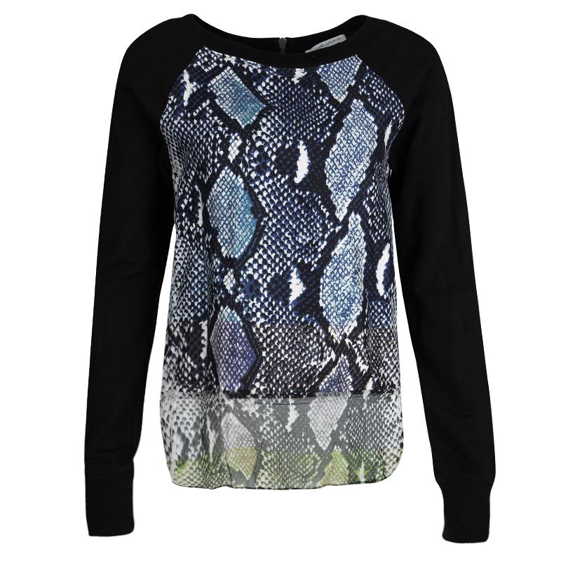 Купить со скидкой Diane Von Furstenberg Black Python Print Raglan Sleeve Lisha Sweatshirt S