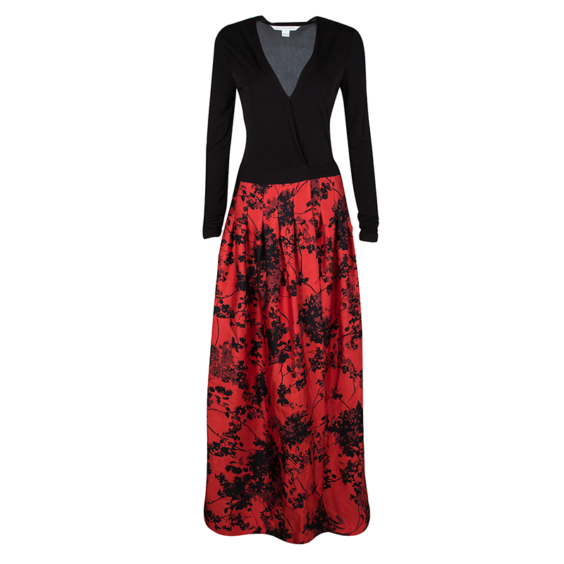b6b5f06ea7a ... Diane Von Furstenberg Black and Red Floral Print Kailey Wrap Maxi Dress  S. nextprev. prevnext