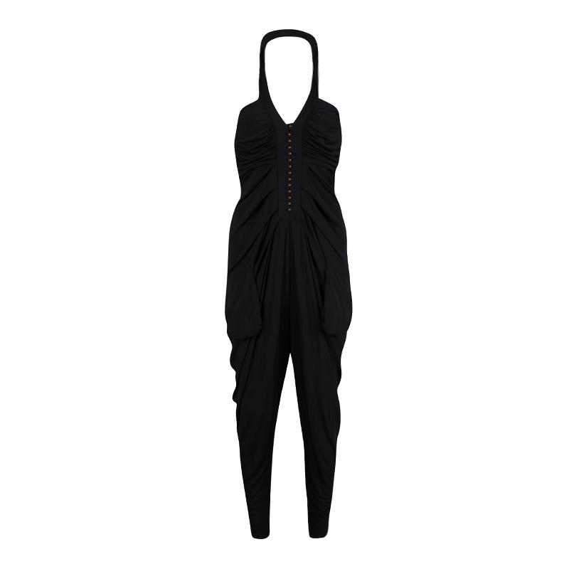 Diane Von Furstenberg Black Draped Knit Halter Jumpsuit M