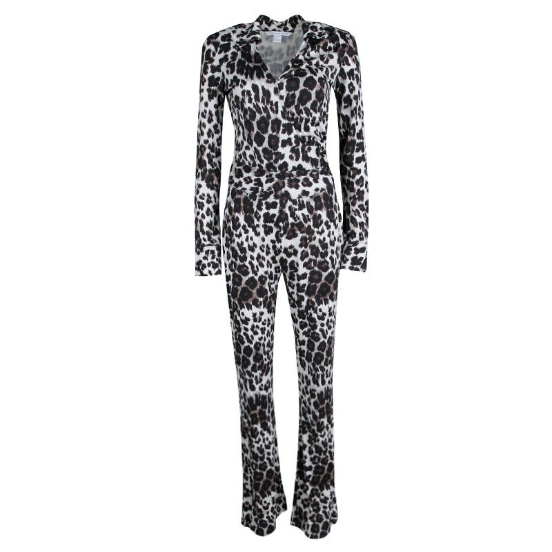 Diane Von Furstenberg Snow Cheetah Printed Silk Jersey Wrap Jumpsuit S