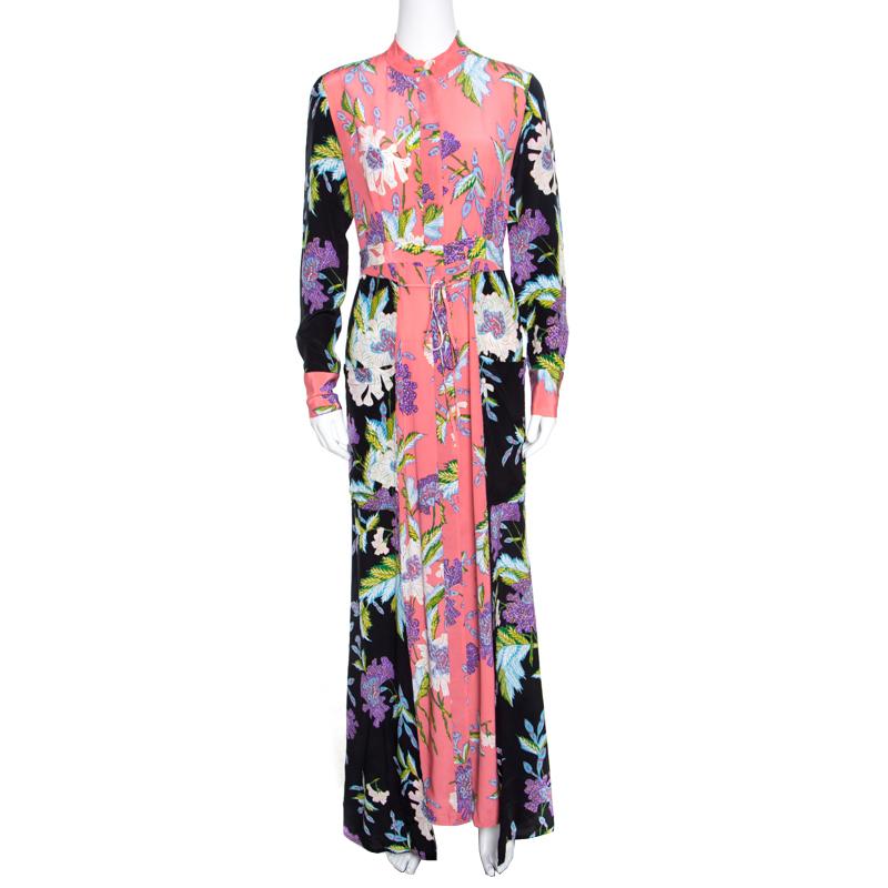 f94438be83cadf ... Diane Von Furstenberg Multicolor Floral Printed Silk Long Sleeve Maxi  Shirt Dress S. nextprev. prevnext