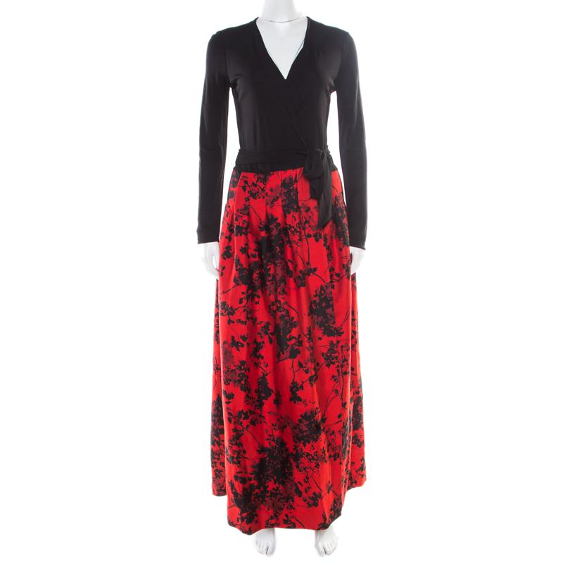 Diane Von Furstenberg Black and Red Floral Print Kailey Wrap Gown S