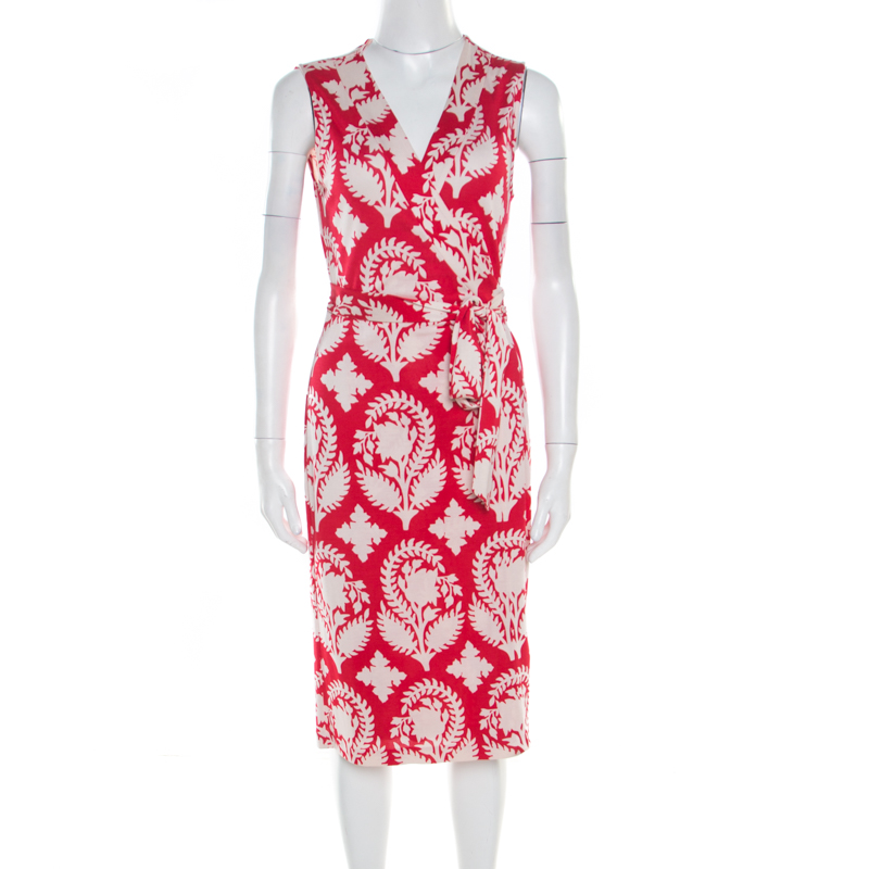 980850566c0 ... Diane von Furstenberg Red Floral Printed New Yahzi Short Wrap Dress L.  nextprev. prevnext