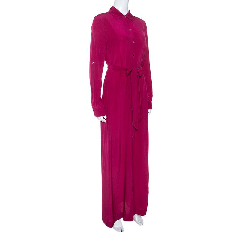 Diane Von Furstenberg Pink Silk Amina Shirt Dress