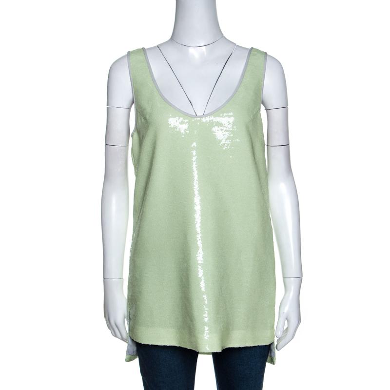 Diane Von Furstenberg Light Green Sequined Desta Tank Top M