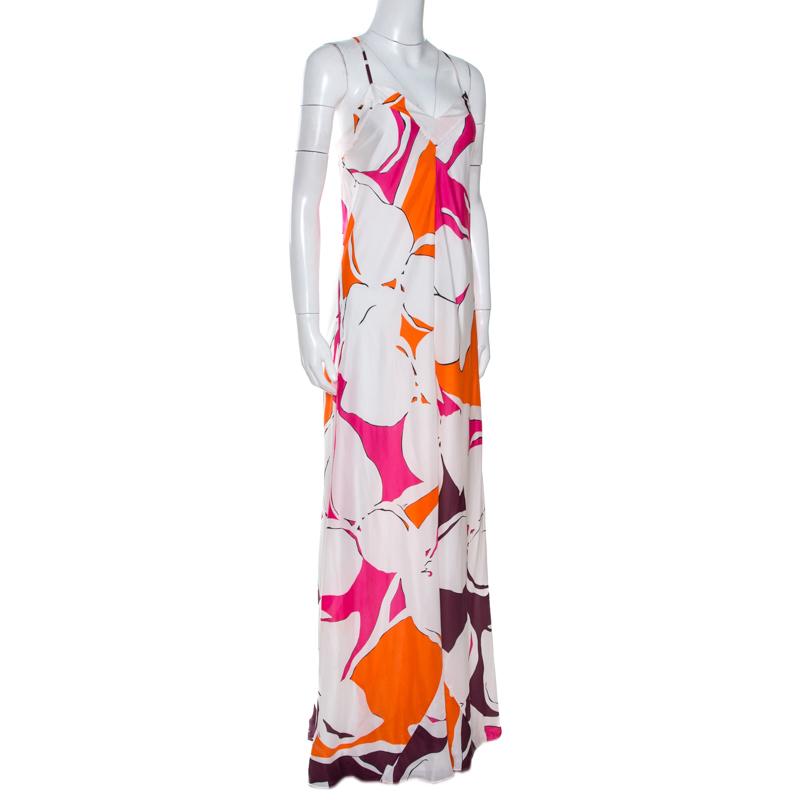 Diane von Furstenberg White Eden Garden Print Silk Barths Dress M