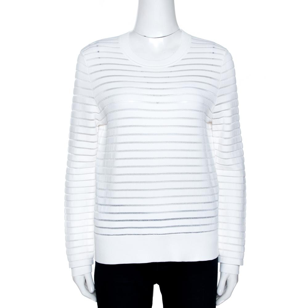 Diane Von Furstenberg White Striped Knit Crew Neck Jumper M
