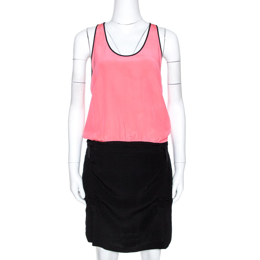 Diane Von Furstenberg Pink & Black Silk Loranne Sleevless Dress M