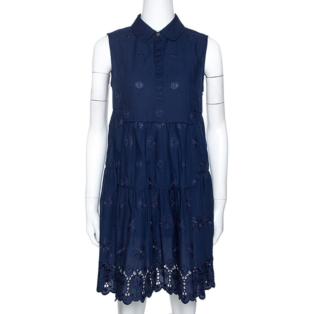 Diane Von Furstenberg Navy Blue Embroidered Eyelet Cotton Kit Dress M