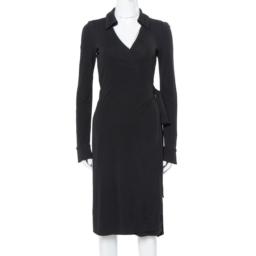 DIANE VON FURSTENBERG BLACK CREPE JEANNE WRAP DRESS S