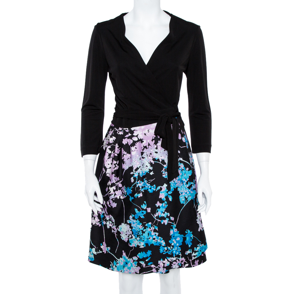 Pre-owned Diane Von Furstenberg Black Wool Silk Blend Floral Print Wrap Dress L