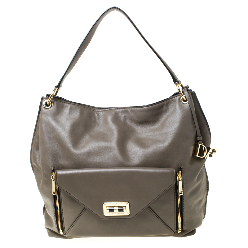 Dark Khaki Leather Shoulder Bag
