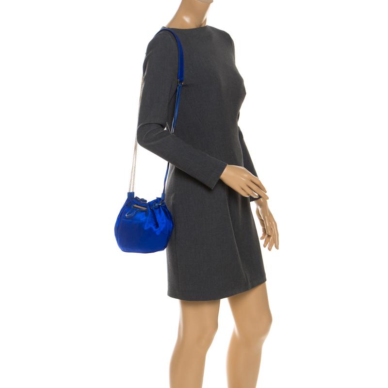 Diane Von Furstenberg Blue Satin Mini Love Power Drawstring Bucket Bag