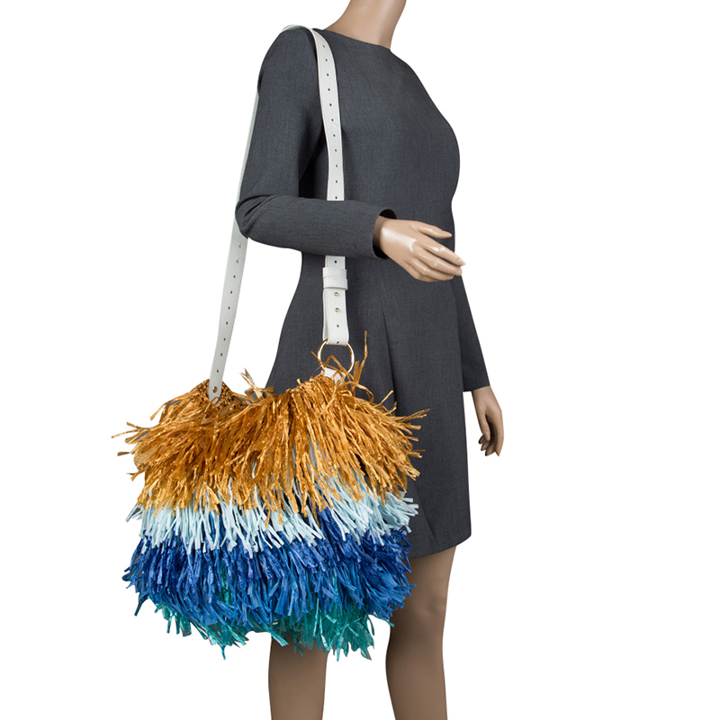 Diane Von Furstenberg Multicolor Raffia Fringe Shoulder Bag