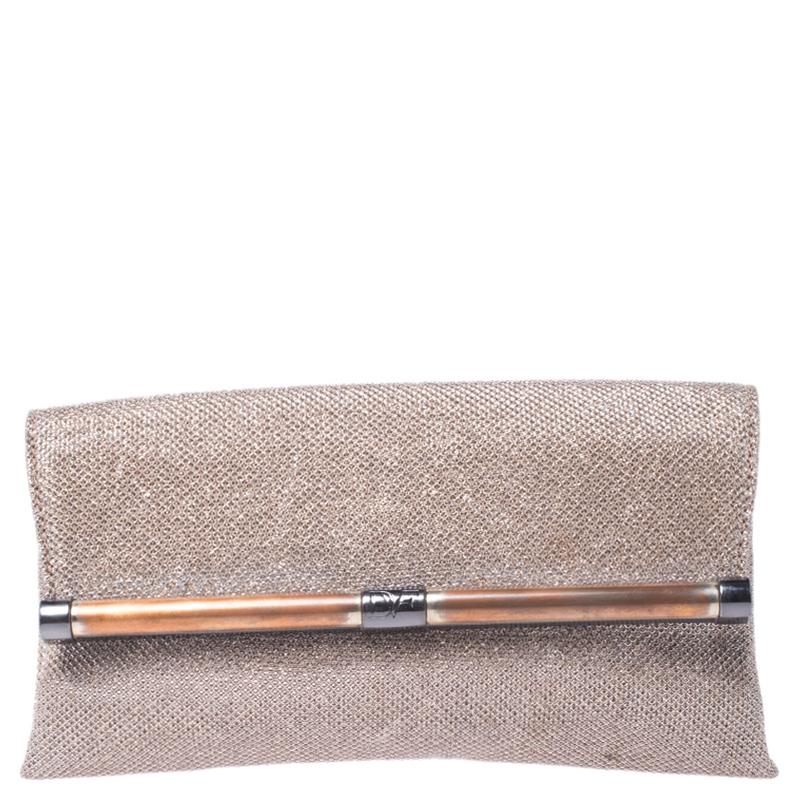 Diane Von Furstenberg Metallic Lame Fabric 440 Envelope Clutch