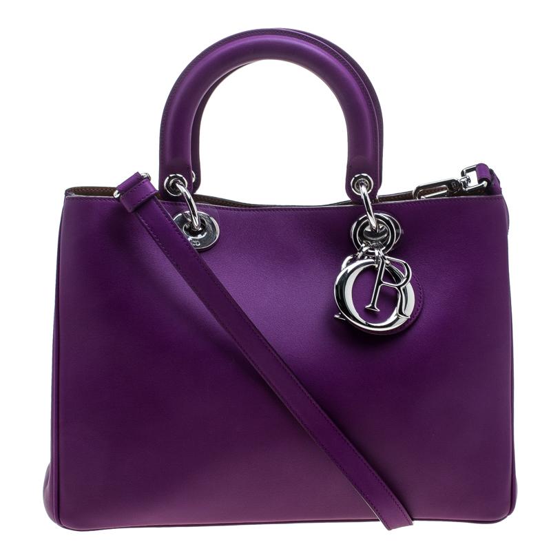 Dior Purple Leather Medium Diorissimo Shopper Tote