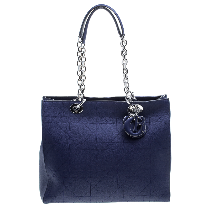 Dior Blue Cannage Leather Large Shopping Tote