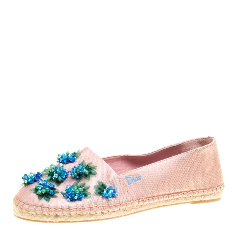 Dior Crepè Pink Floral Embellished Canvas Espadrille Loafers Size 38