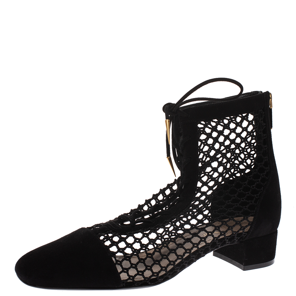 Dior Black Suede and Fishnet Naughtily-D Ankle Boots Size 39