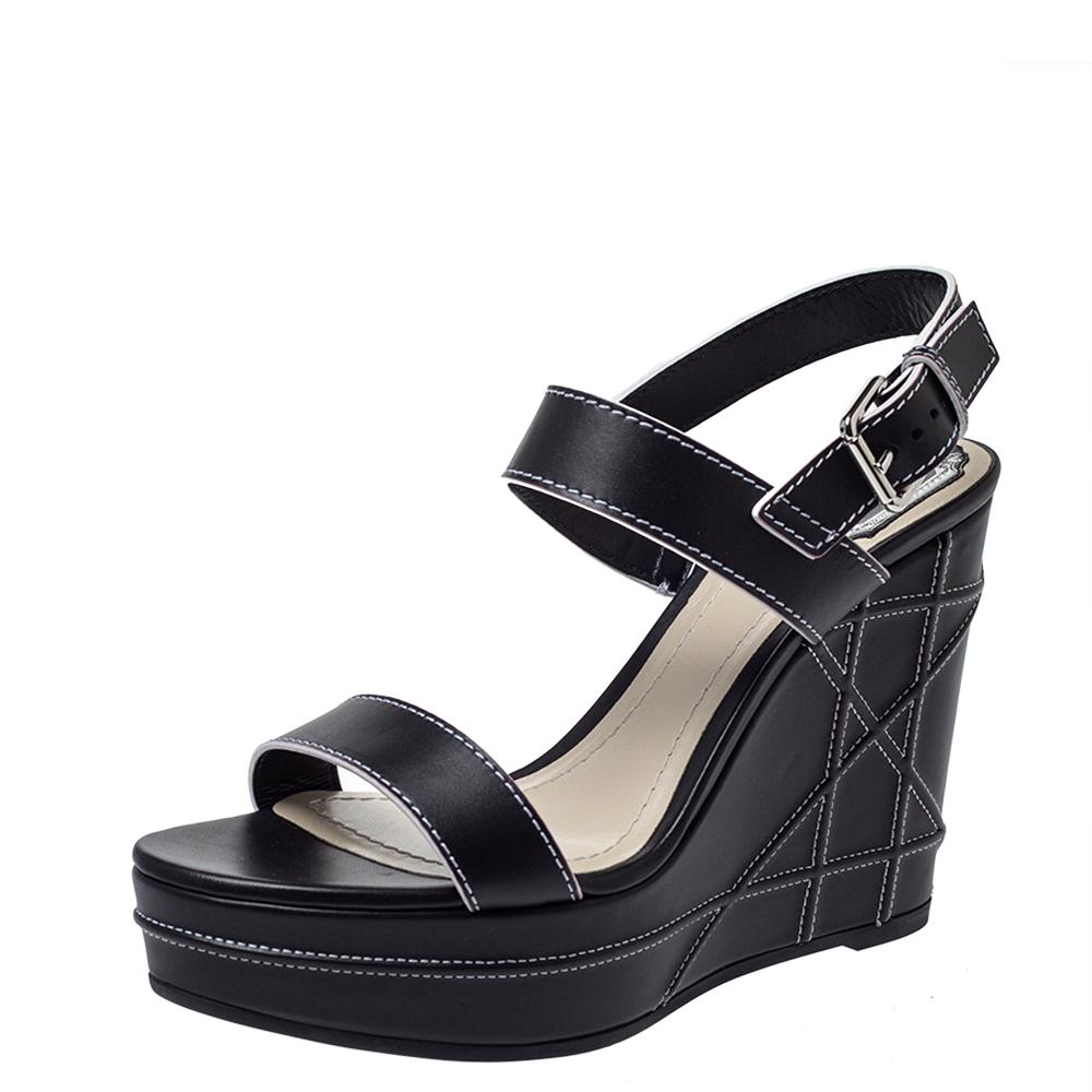Dior Black Leather Wedge Platform Ankle Strap Sandals Size 41