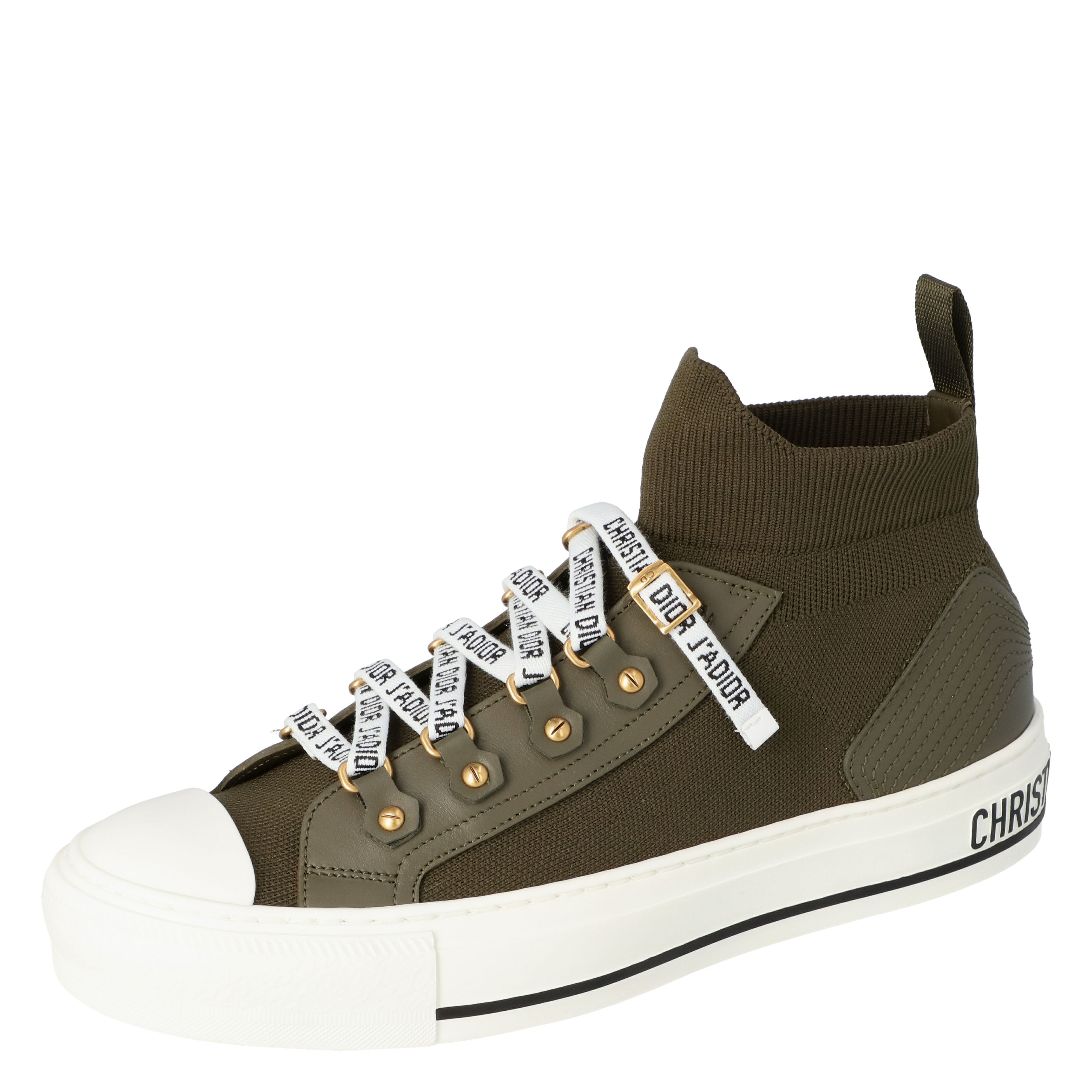 Dior Military Green Technical Knit and Leather Walk'n'Dior High-Top Sneakers Size 39