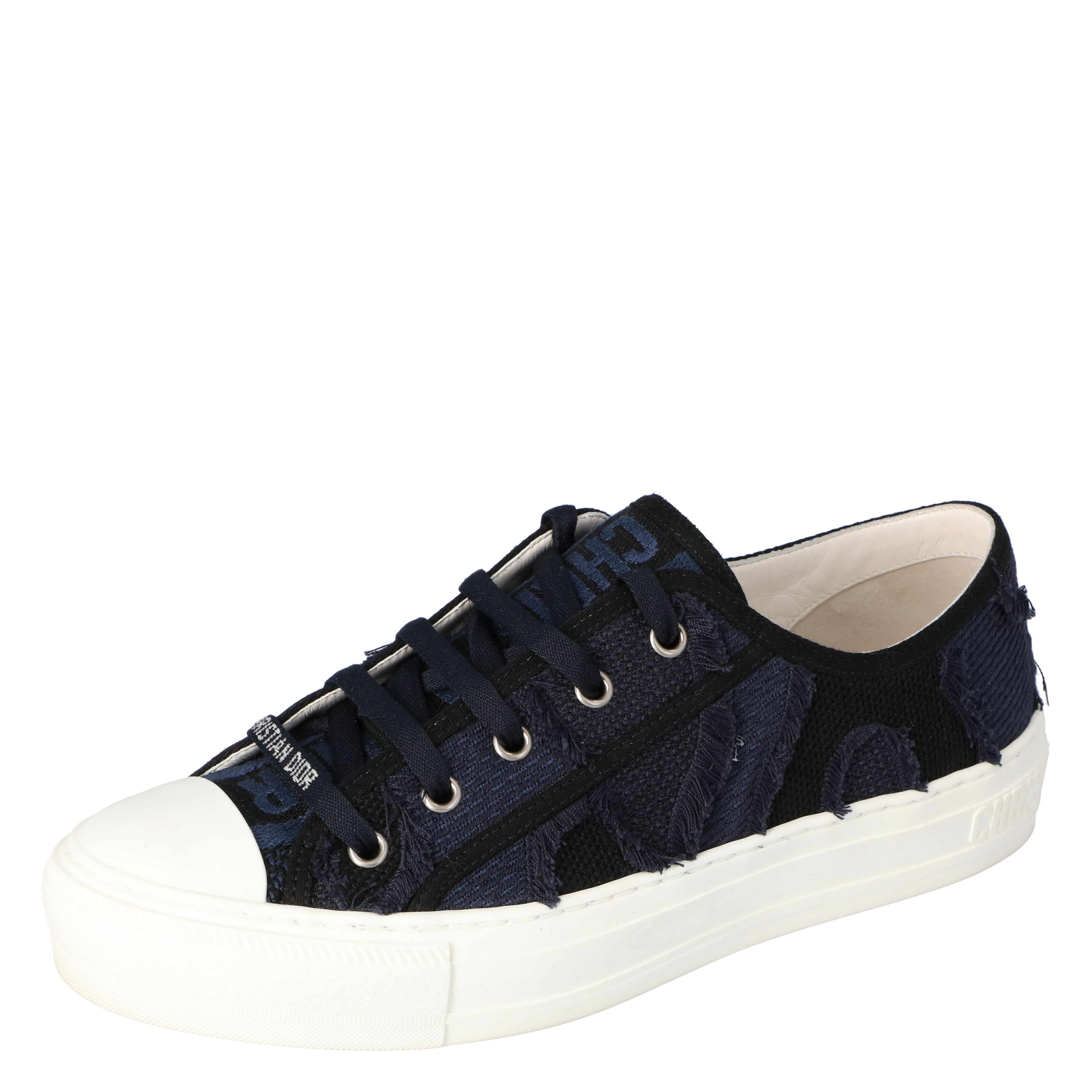 Dior Deep Blue Camo Canvas Walk'n'Dior Low-Top Sneakers Size 35