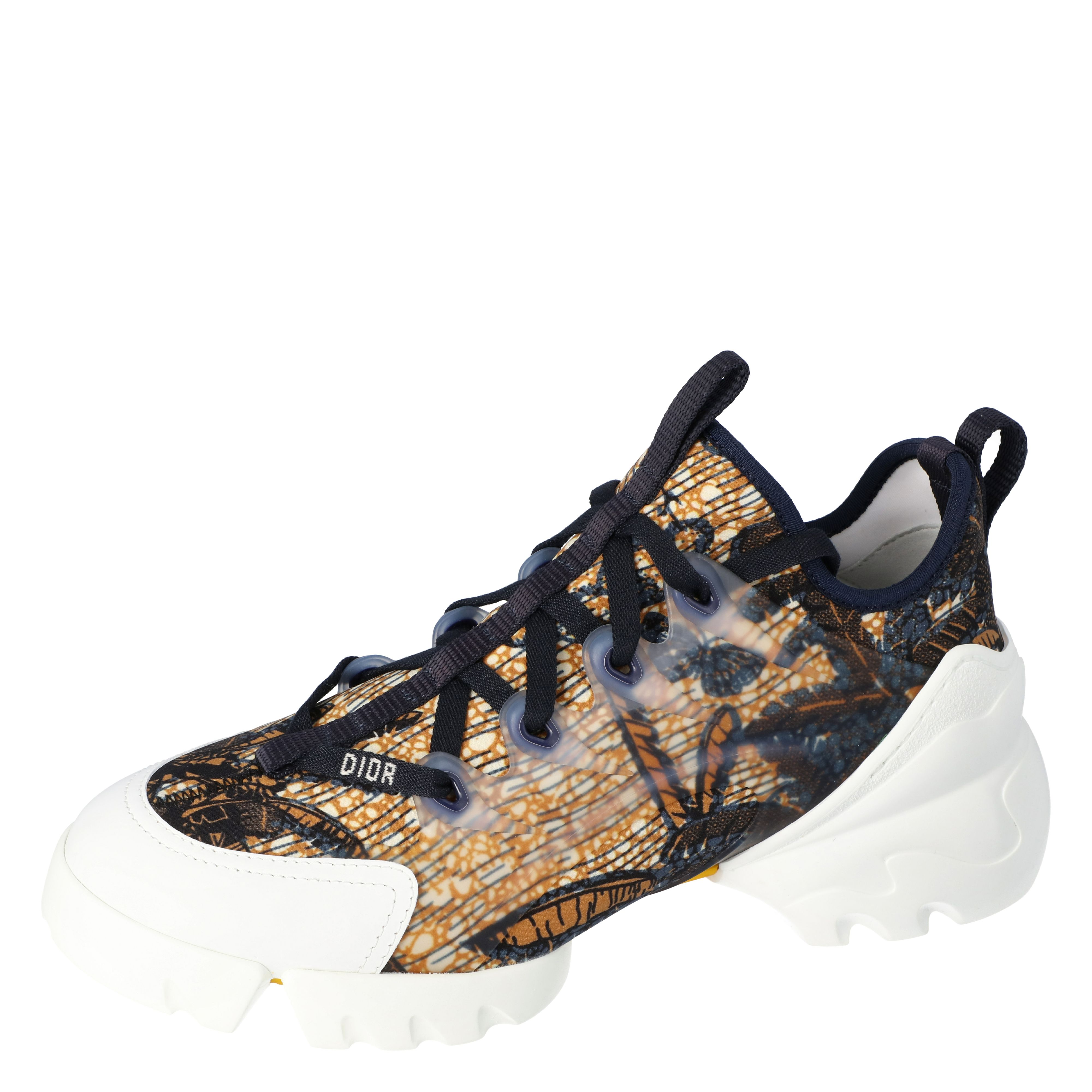 Dior Multicolor Tropicalia Print Technical Fabric D-Connect Platform Sneakers Size 37.5