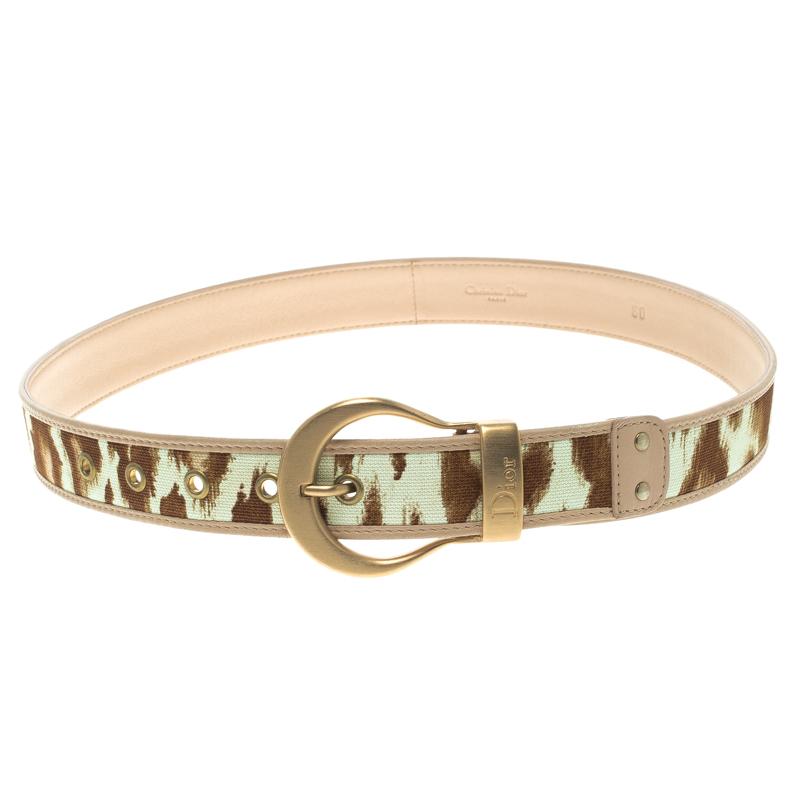 Купить со скидкой Dior Beige/Brown Canvas and Leather Belt 80CM