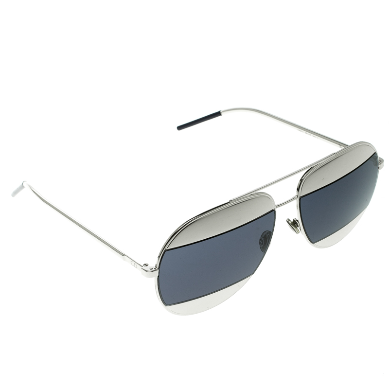 872732662d7cf Buy Dior Dark Blue Silver Dior Split 1 Aviator Sunglasses 131427 at ...