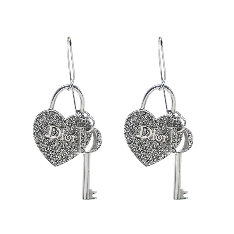 8bd139e7841f Buy Dior Heart Lock   Key Charm Crystal Silver Tone Drop Hook ...