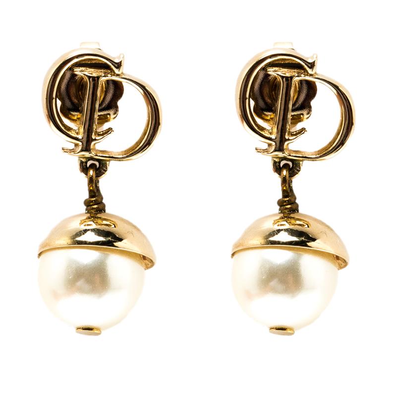 Dior Mise En Faux Pearl Gold Tone Drop Earrings