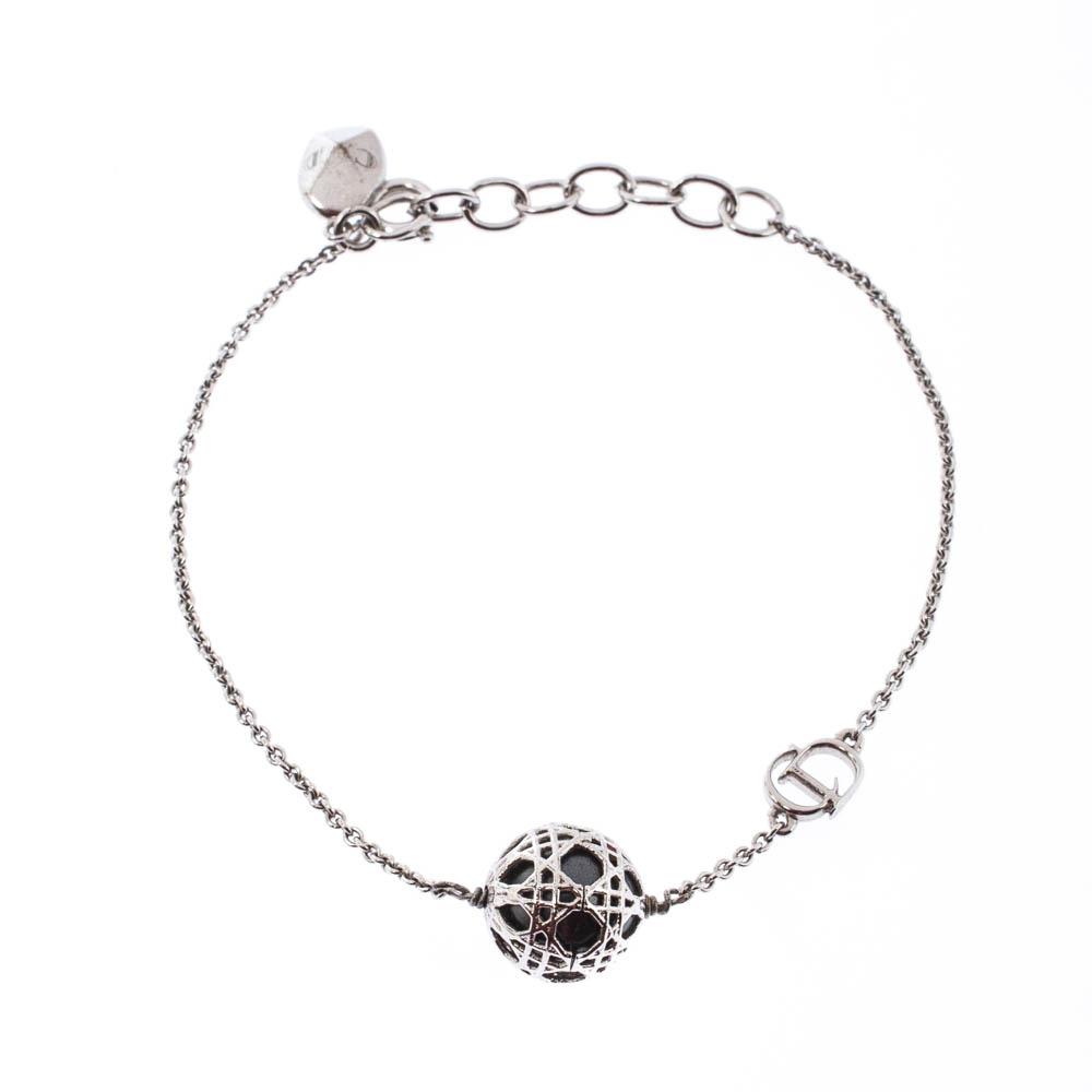 Dior Secret Cannage Faux Pearl Silver Tone Bracelet