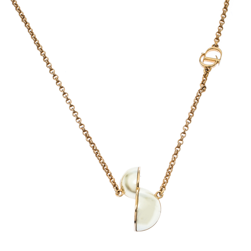 Dior Asymmetric Faux Pearl Gold Tone Necklace