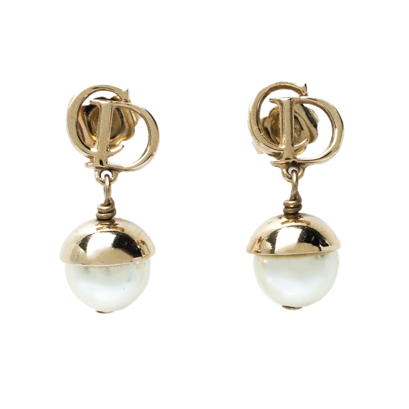 Dior Mise en Dior Faux Pearl Gold Tone Drop Earrings