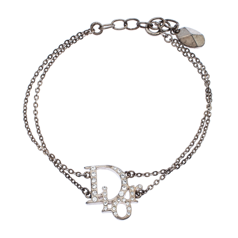 Dior Silver Tone Crystal Embellished Logo Layered Bracelet