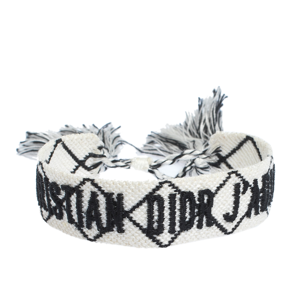 Dior J'adior White & Black Woven Fabric Adjustable Tassel Bracelet
