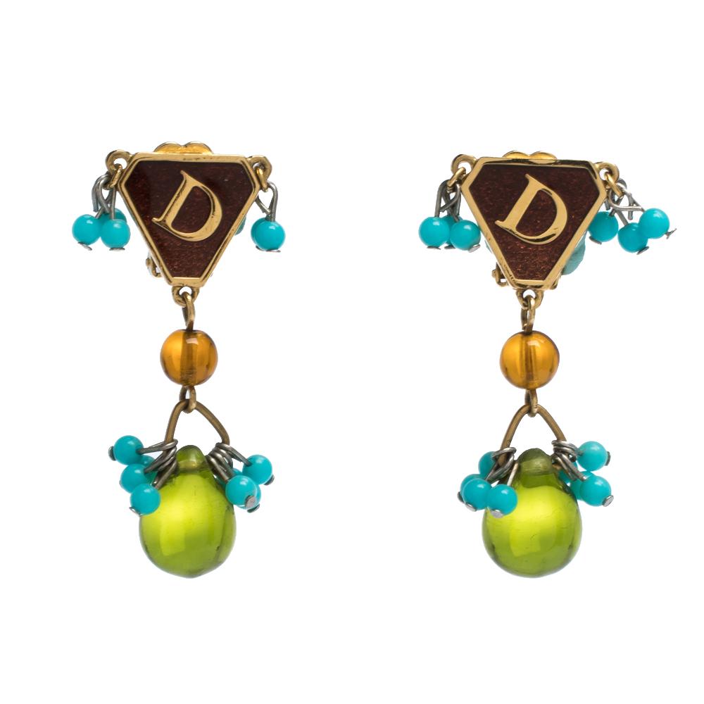 Dior Vintage Multicolor Two Tone Metal Clip On Drop Earrings
